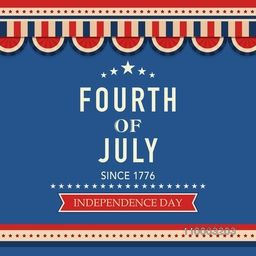 Beautiful vintage greeting card in national flag color for 4th of July, American Independence Day celebration.