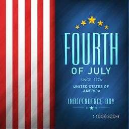 4th of July, American Independence Day celebration flyer, banner or template in national flag color.