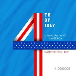 Stylish text 4th of July made by glossy national flag colors ribbon on blue background for American Independence Day celebration.