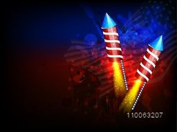 Shiny national flag color rockets on colorful background for 4th of July, American Independence Day celebration.