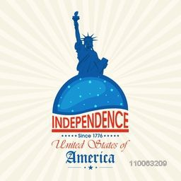 4th of July, American Independence Day celebration with illustration of statue of liberty on abstract rays background.