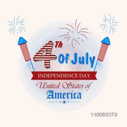 Beautiful greeting card with glossy text 4th of July on national flag color fireworks background for American Independence Day celebration.