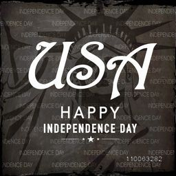 American Independence Day celebration with stylish text USA on Statue of Liberty decorated black background.
