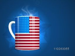 Glossy American Flag Colors Mug on shiny blue background for 4th of July, Independence Day celebration.