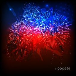Beautiful fireworks in American Flag colors for 4th of July, Independence Day celebration.