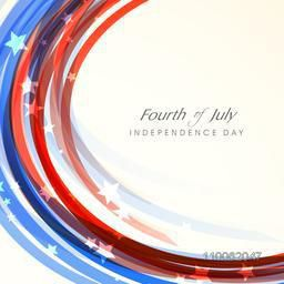 Shiny waves in American national flag colors for Fourth of July, Independence Day celebration.