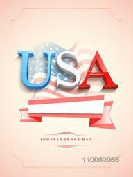 3D text USA with blank ribbon on waving national flag decorated glossy background for American Independence Day celebration.
