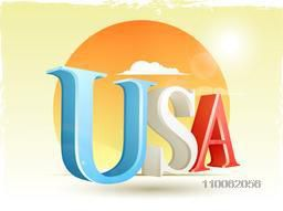 Glossy 3D text USA in American national flag colors for 4th of July,  Independence Day celebration.