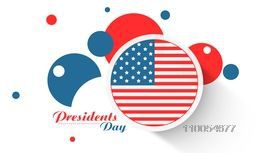 Presidents Day celebration sticker, label or circles in United State American flag color on white background.