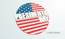 3D text Presidents Day on a United State American flag color circle on shiny sky blue background.