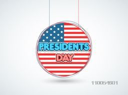 United State American flag in hanging sticker or label for Presidents Day celebration on shiny sky blue background.
