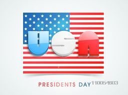 3D glossy text United State America on national flag for Presidents Day celebration on shiny sky blue background.