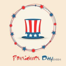 Stars decorated rounded frame with United State American flag color hat for Presidents Day celebration.
