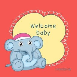Baby shower party celebrations greeting card or invitation card design with stylish text on yellow beautiful frame and elephant toy in cap over red background.
