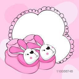 Funny stylish baby boots with blank frame for your text on pink background for baby shower celebrations.