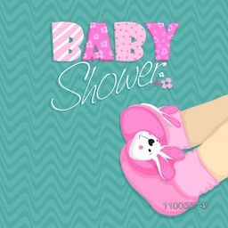 Baby shower celebrations card with creative design of baby boots on stylish background.