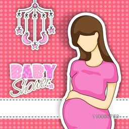 Baby shower party celebration invitation or greeting card design with stylish text and a pregnant lady.