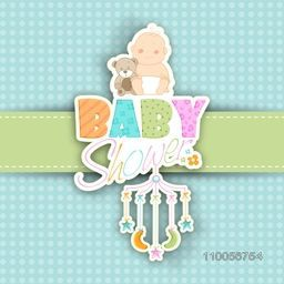 Baby shower celebrations greeting card or invitation card design with baby and stylish text.