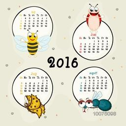 2016 Calendar of May, June, July and August months with insects.