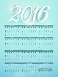 Shiny Yearly Calendar design of 2016 for Happy New Year celebration.