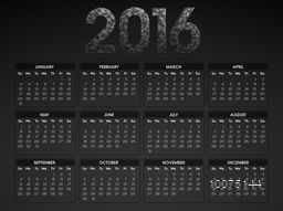 Stylish 2016 Yearly Calendar design in grey color for Happy New Year celebration.