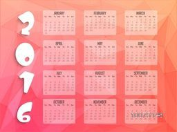 Creative Yearly Calendar of 2016 in crystal style for Happy New Year celebration.