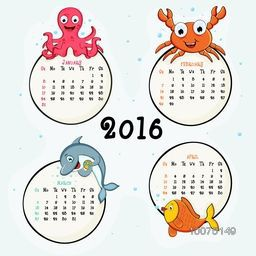 Creative 2016 Calendar of January, February, March and April with water animals.