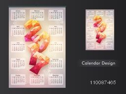 Creative Calendar Planner design with abstract 3D text 2017 for New Year celebration.