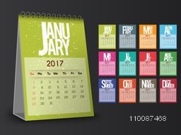 Vector Calendar for 2017 year, Colorful set of 12 months template layout.