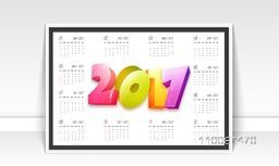 Annual Calendar design with 3D colorful text 2017.