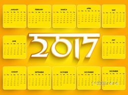 Annual Calendar design for New Year 2017, Set of 12 months template.