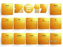 Shiny Annual Calendar template layout for Happy New Year 2017 celebration.