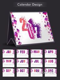 Creative Annual Calendar of New Year 2017 with abstract design decoration.