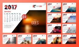 2017 Year, Annual Calendar Planner presentation with space to add your images.