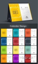 Colorful Yearly Calendar design with space to add your text, Set of 12 months template for New Year celebration.