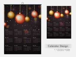 2017 Year, Annual Calendar Planner design decorated with glossy hanging Xmas Balls.