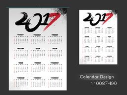 Yearly Calendar design for Happy New Year 2017 celebration.