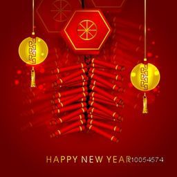 Traditional Chinese knot with golden lanterns hanging on shiny red background for Happy New Year celebrations.