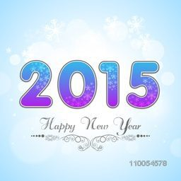 Happy New Year 2015 celebrations with beautiful shiny text on snowflake decorated sky blue background.