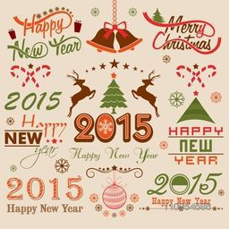 Beautiful typography and ornaments collection for Happy New Year 2015 and Merry Christmas celebrations.