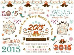 Stylish calligraphic or typographic collection for Happy holidays, Merry Christmas and New Year 2015 celebrations.