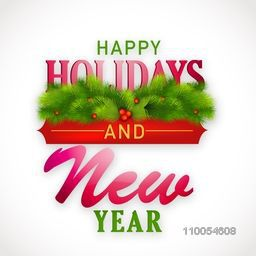 Elegant flyer, banner or poster with shiny text, fir tree and mistletoe for Happy Holiday, New Year 2015 and Merry Christmas celebration.