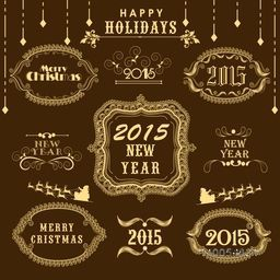 Beautiful calligraphic and typographic collection for Happy Holidays, New Year 2015 and Merry Christmas celebration.