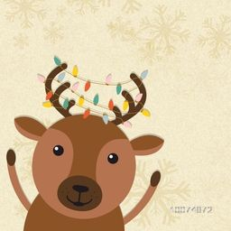 Cute Reindeer with colorful lights on Snowflakes decorated background for Merry Christmas celebration.