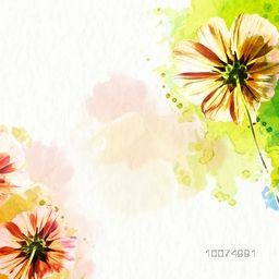 Beautiful creative abstract flowers with colorful splash on shiny background.