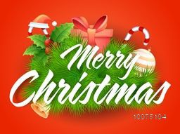 Elegant glossy greeting card design with creative colorful ornaments on orange background for Merry Christmas celebration.