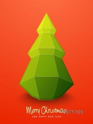Glossy Flyer, Banner or Pamphlet with creative origami Xmas Tree on orange background for Merry Christmas and Happy New Year celebrations.
