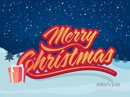 Merry Christmas celebration greeting card design with glossy gift on winter night background.