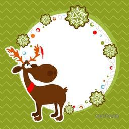 Merry Christmas celebration greeting card design decorated with cute reindeer, snowflakes and space for your message on green background.