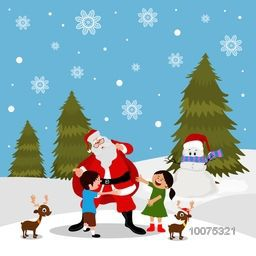 Merry Christmas celebration with creative illustration of Santa Claus holding gift sack for cute kids on snowflakes decorated winter background.